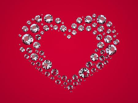 fondo rojo: Coraz�n de los diamantes. Los diamantes tridimensionales encuentran en forma de coraz�n. Brillantes sobre un fondo rojo. Imagen generada digitalmente. Renderizado en 3D Programa Foto de archivo