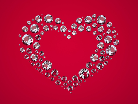 jewelry background: Heart of Diamonds. The Three-dimensional Diamonds located in Shape of Heart. Brilliants on a Red background. Digitally Generated Image. Rendering in 3D Program