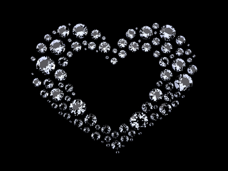i nobody: Heart of Diamonds. The Three-dimensional Diamonds located in Shape of Heart. Brilliants on a Black background. Digitally Generated Image. Rendering in 3D Program