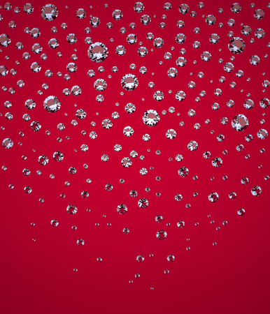 brightly lit: Confetti of Brilliants. Falling Confetti of Perfect Brilliants. The Three-dimensional Brightly Lit Brilliants on a Red background. Diamonds. Digitally Generated Image. Rendering in 3D Program