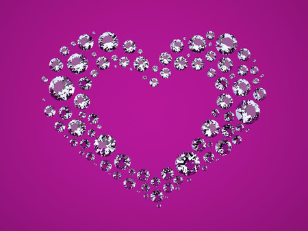 diamond background: Heart of Diamonds. The Three-dimensional Diamonds located in Shape of Heart. Brilliants on a Purple background. Digitally Generated Image. Rendering in 3D Program
