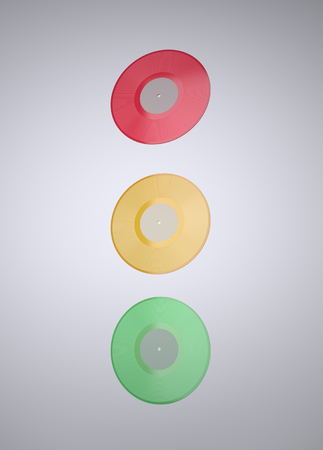 trafficlight: Colorful Vinyl records. The illustration of the Colorful LP Vinyl records. Stop! Play! Traffic light Concept. This Image for Poster or Presentation of Your Event or Party in Rock, Rock-n-roll, Pop, Jazz, Dance, Techno, Hip Hop, DJ, Classical Style. Render Stock Photo
