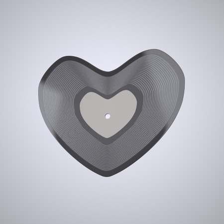 vinyl record: Heart shaped Vinyl record. The illustration of the LP Vinyl record in Shape of Heart. Love is in the Music. Romantic Musical Concept. Popular Music Concept. This Image for Poster or Presentation of Your Event or Party in Rock, Rock-n-roll, Pop, Jazz, Danc