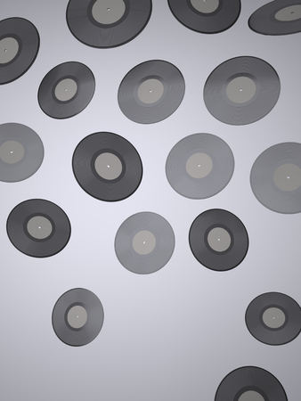 Vinyl records. A Background of Vinyl records. Music background. This Image for Poster or Presentation of Your Event or Party in Rock, Rock-n-roll, Pop, Jazz, Dance, Techno, Hip Hop, DJ, Classical Style. Digitally Generated Image. Rendering in 3D Program
