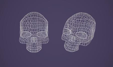 Skull. The Three-dimensional Skull on a Dark background. Head. Deaths Head. Jolly Roger. Wire Skull. Wire Skeleton. 3d models. Modeling. Rendering in 3D Program