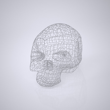 Skull. The Three-dimensional Skull on a White background. Head. Deaths Head. Wire Skull. Wire Skeleton. 3d model. Modeling. Rendering in 3D Program Stock Photo