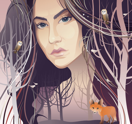 Beautiful Young Woman in Forest - vector illustration. Female Face, Trees Trunks, Forest and Animals depicting Mother Nature. Mother Nature. Woman Tree. Mother Earth. Portrait. Environmental Conservation or Ecology concept Illustration