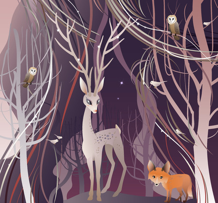 Animals in Forest. The vector illustration of the Animals in Forest. Deer, Red Fox, Owl, Birds. Deer Walk Through a Trees in Forest, Wood, Woodland. Vector illustration EPS8. No Transparency!