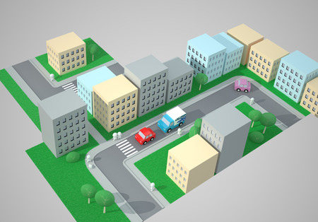 downtown district: City Top View. Street Traffic. The Three-dimensional City Map with Streets, Buildings, Cars, Pedestrians and Pedestrian Crossings, Zebra Crossings. Digitally Generated Image. Rendering in 3D Program Stock Photo