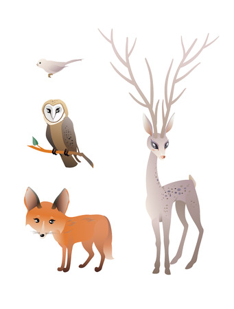 Forest Animals Vector Set. Deer, Red Fox, Owl, Bird. Illustration