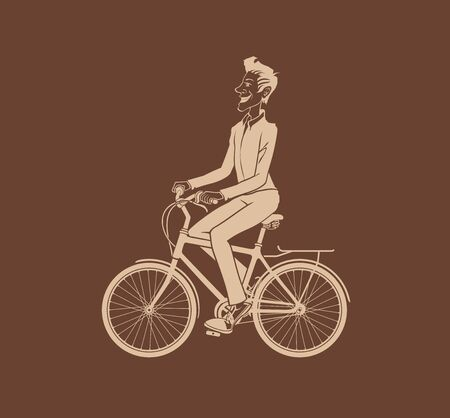 bicycling: Man bicycling. The vector illustration of the Man bicycling. Cyclist Silhouette. Bicycle Rider. Bicyclist. Hipster Man with Bicycle. Graphic Design Element. Illustration