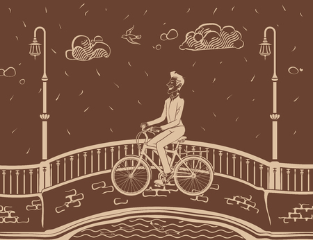 streetlight: Man bicycling in City. The vector illustration of the Man bicycling in City. Hipster Man Are Riding on a Bicycle Along the Street. Bicyclist in City. Biking. Illustration