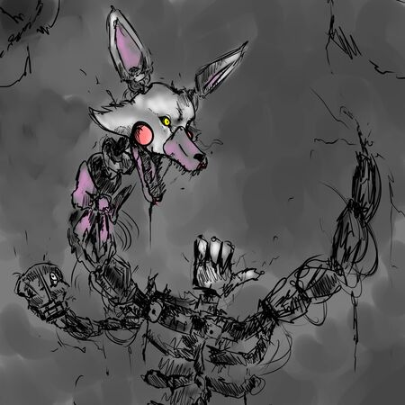 Abstract dog robot.It is painted in dark gray tones.