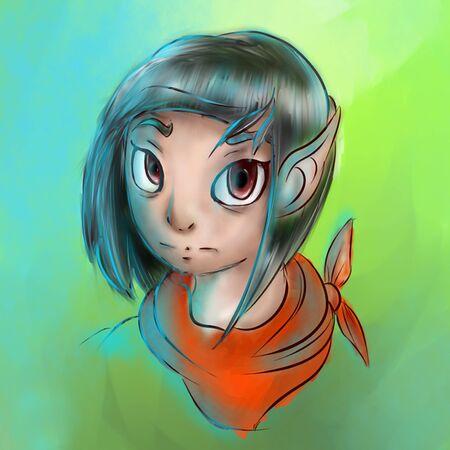 Portrait of a girl with orange shawl and big eyes.