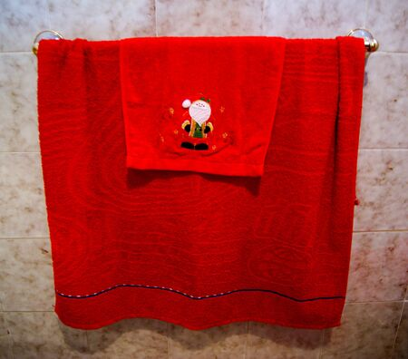 bath christmas  Christmas towels in the bathroom. Bath Christmas Stock Photos Images  Royalty Free Bath Christmas