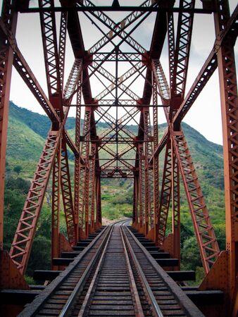 Steel structural bridge over the river Banco de Imagens