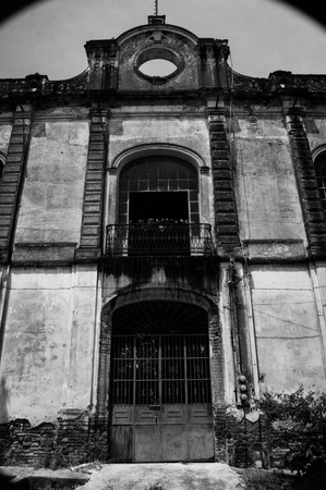 b w: Frontal view of the entrance to the Hacienda