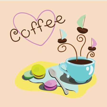 coffee beans background: Coffee cup with macaroons and coffee beans background Illustration