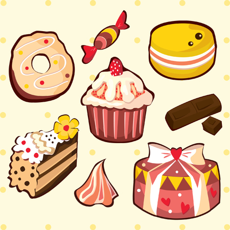 delicious: Delicious sweets and cakes set Illustration