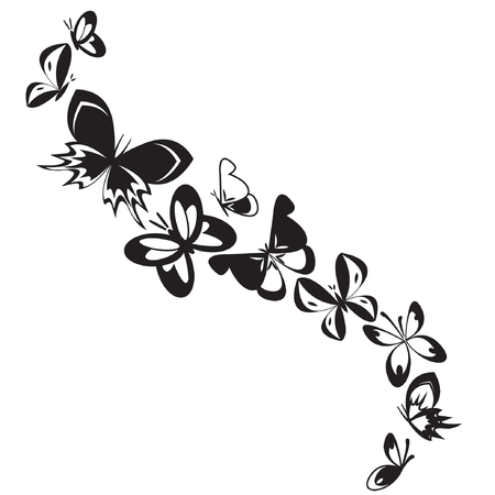 stylistic: Set of butterflies isolated on white design background