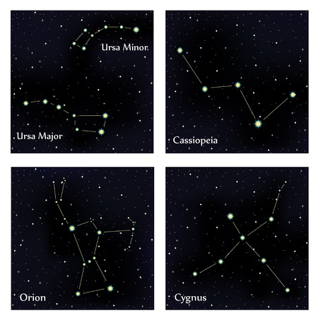 cygnus: Set of constellations. Vector space and stars illustration Illustration