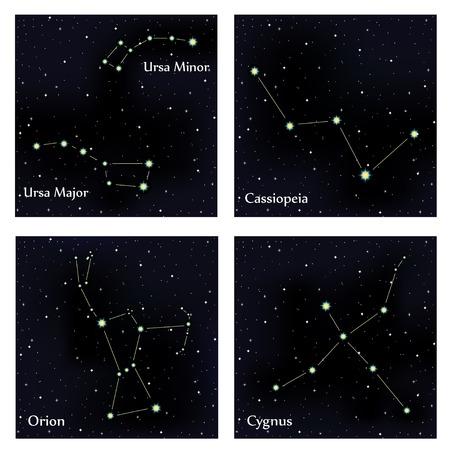 ursa: Set of constellations. Vector space and stars illustration Illustration