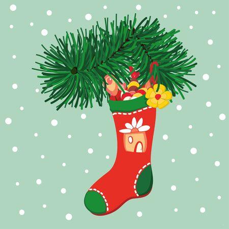christmas sock: Red Christmas sock hanging on Christmas tree Illustration