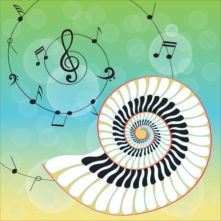 Shell música aislada creativo en fondo musical notas