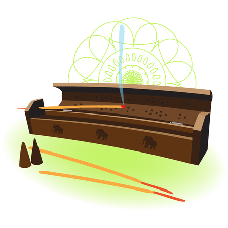 aroma: A wooden box with incense aroma sticks on white background with mandala