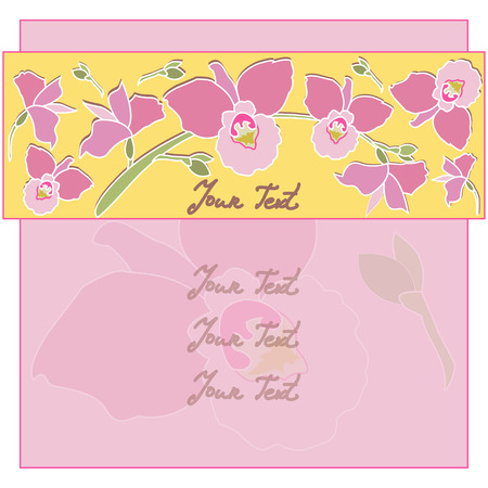 pink orchid: Card with pink orchid flowers. Vector background with Flowers