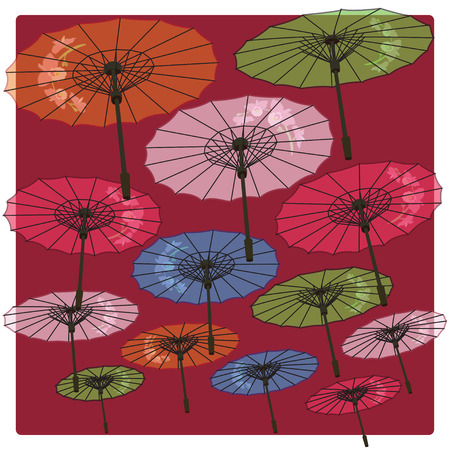 thai orchid: Color umbrellas decorated with flowers background