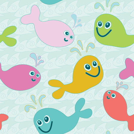 cartoon sperm: Seamless pattern of color whales on blue sea waves background