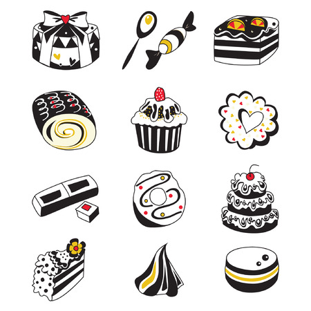 souffle: Set of various hand drawn sweets and candies sketches. Isolated vector illustration on white background