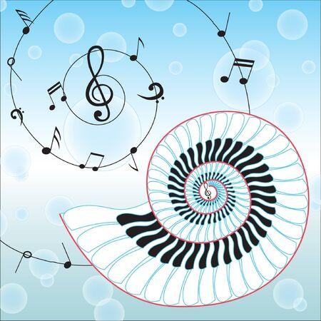 Cáscara de la música aislado en fondo musical notas