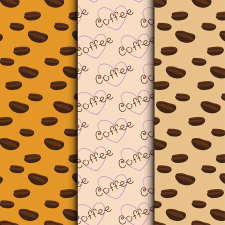 flavored: Set of three coffee seamless patterns, vector backgrounds, textures with coffee beans and hearts