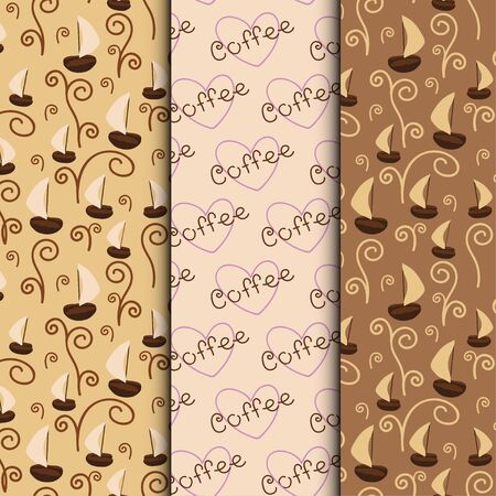 flavored: Set of three coffee seamless patterns, vector backgrounds, textures with coffee beans, aroma and hearts