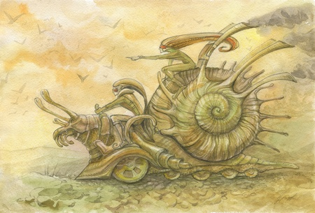picture with echoes of steampunk. racing snails. two elves run on giant battle metal snail