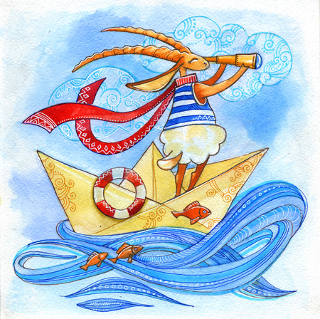 goat sailor with a telescope in a paper boat