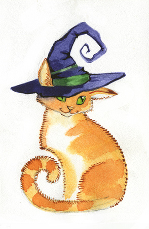 witch cat in a pointed hat 写真素材