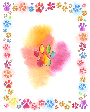iridescent multicolored cat traces watercolor