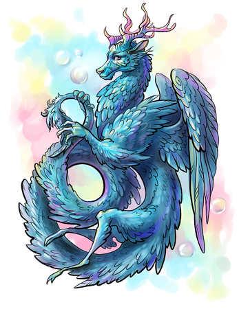 Blue feathered Dragon 写真素材