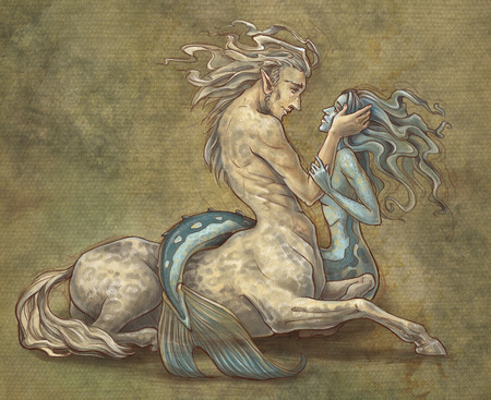 centaur and mermaid Stock Photo