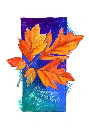 Autumn leaf. Hello, autumn evening Stock Photo