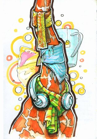 giraffe in earphones and scarf Stock Photo