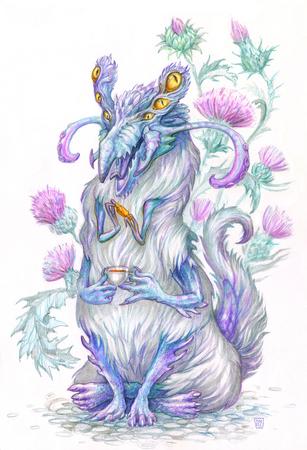 Fantasy cartoon demon drink a tea with candy