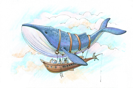 people fly on the airship harnessed by a blue whale