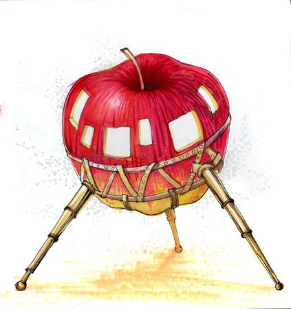 apple shuttle cartoon fantastic draw