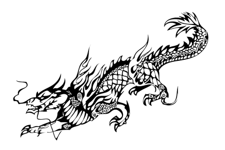 Chinese dragon black on the white