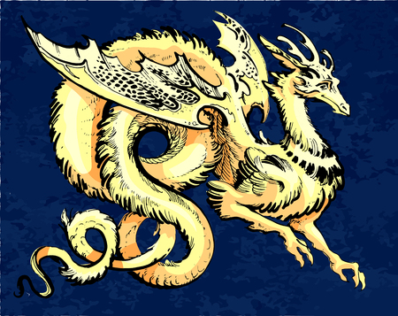 gold winged dragon in asia style  イラスト・ベクター素材