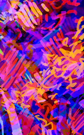 multicolored neon background of strokes, scribbles pink violet purple orange